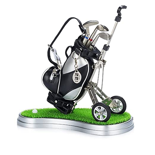 Mini desktop golf bag pen holder with lawn base and golf pens 6-piece set of golf souvenir Tour souvenir novelty gift (silver and black)
