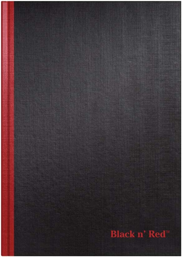 Black n' Red Hardcover Notebook, Casebound, Large Journal Business Note Book for Home Office Supplies & Desktop Organization, Lined Paper, Durable Cover, Black, 96 Ruled Sheets, Pack of 1 (D66174)