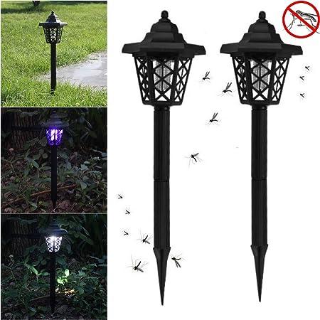 Home Garden Path Yard Lawn Solar Powered LED Light Zapper Mosquito Killer Lamp