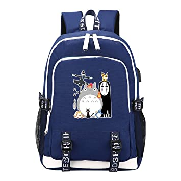 Spirited Away Cute No-face Men Shoulder Bag Black Backpack Oxford Cloth