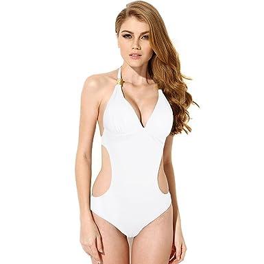 HanLuckyStars Traje de Baño Mujer, Bañador para Mujer Sexy y Cómodo,Traje de Baño Enteros, Bikinis Mujer de Cabestrillo y Escotado por detrás.