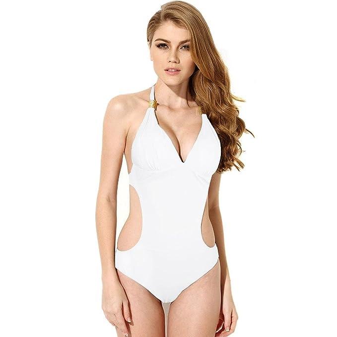 04b298868595 HanLuckyStars Traje de Baño Mujer, Bañador para Mujer Sexy y Cómodo,Traje  de Baño Enteros, Bikinis Mujer de Cabestrillo y Escotado por detrás.
