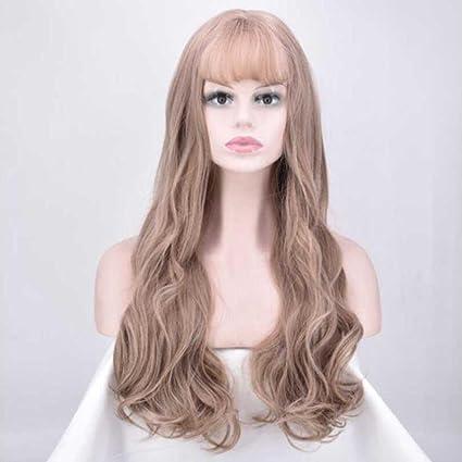 Q&D Wigs Peluca de pelo para mujer, larga, ondulada, resistente al calor,