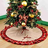 JunMu Large 48 Inch Christmas Tree Skirt, Linen Burlap Xmas Tree Skirt with Plaid Ruffle Edge for for Merry Christmas & New Year Party Holiday Home Decorations