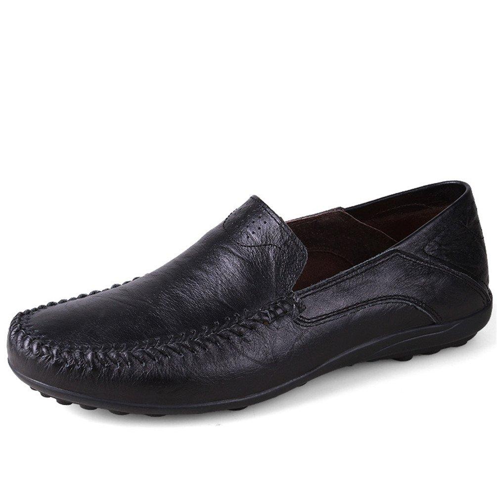 ailishabroy Hombres Mocasines Marrón y Negro Zapatos de cuero Hombres Negocios Formal Oxford 45 EU|Negro