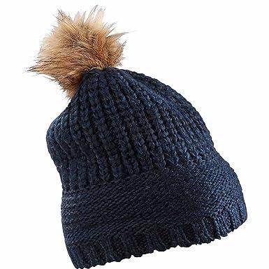 eb99d5176c6 MYRTLE BEACH - bonnet à pompon fausse fourrure - MB7975 - mixte homme    femme (bleu marine)  Amazon.fr  Vêtements et accessoires