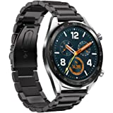 Leafboat Compatible Huawei Watch GT Strap,22mm Adjustable Huawei Watch GT Straps Metal Stainless Steel Replacement Strap Huawei GT Accessories for Huawei Watch GT Running Watch-Black