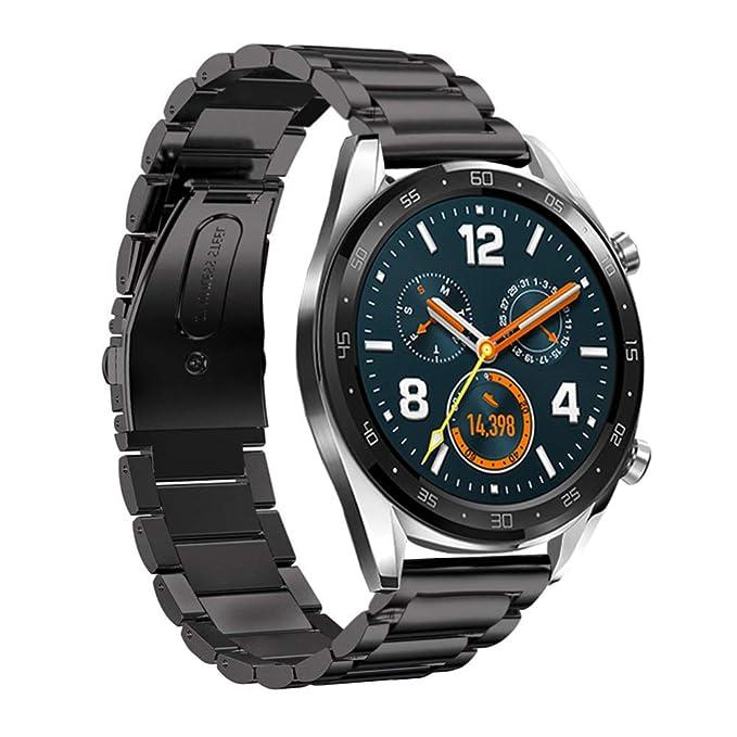 SPGUARD Compatible avec Bracelet Huawei Watch GT, Bracelet en Métal en Acier Inoxydable de 22mm pour Huawei Watch GT/Huawei Watch GT Active-Noir