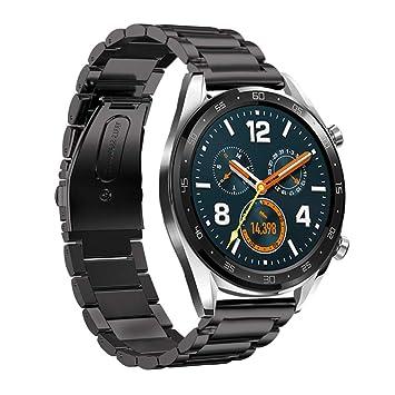 Leafboat pour Bracelet Huawei Watch GT, Bracelet Métal Réglable en Acier Inoxydable Remplacement de Bracelet