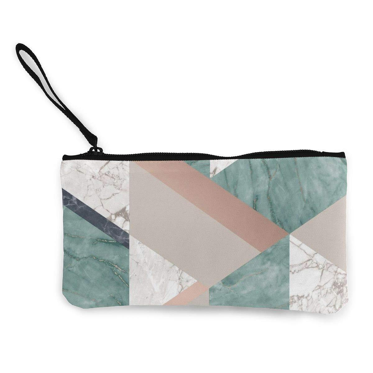 Canvas Cash Coin Purse,Green Tile Print Make Up Bag Zipper Small Purse Wallets