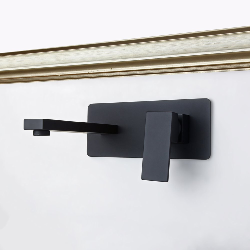 Jiuzhuo contemporain seule poign/ée /à fixation murale de salle de bain robinet de lavabo en laiton massif Noir