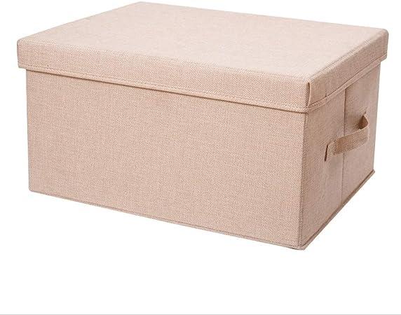RANGSTOCKRR Caja de Almacenamiento Plegable 40L con Tapa, Cubo, Caja para Ropa, Decoración, Ropa Interior, Juguetes, Revista, Cosas pequeñas, Accesorios (Color : Beige): Amazon.es: Hogar