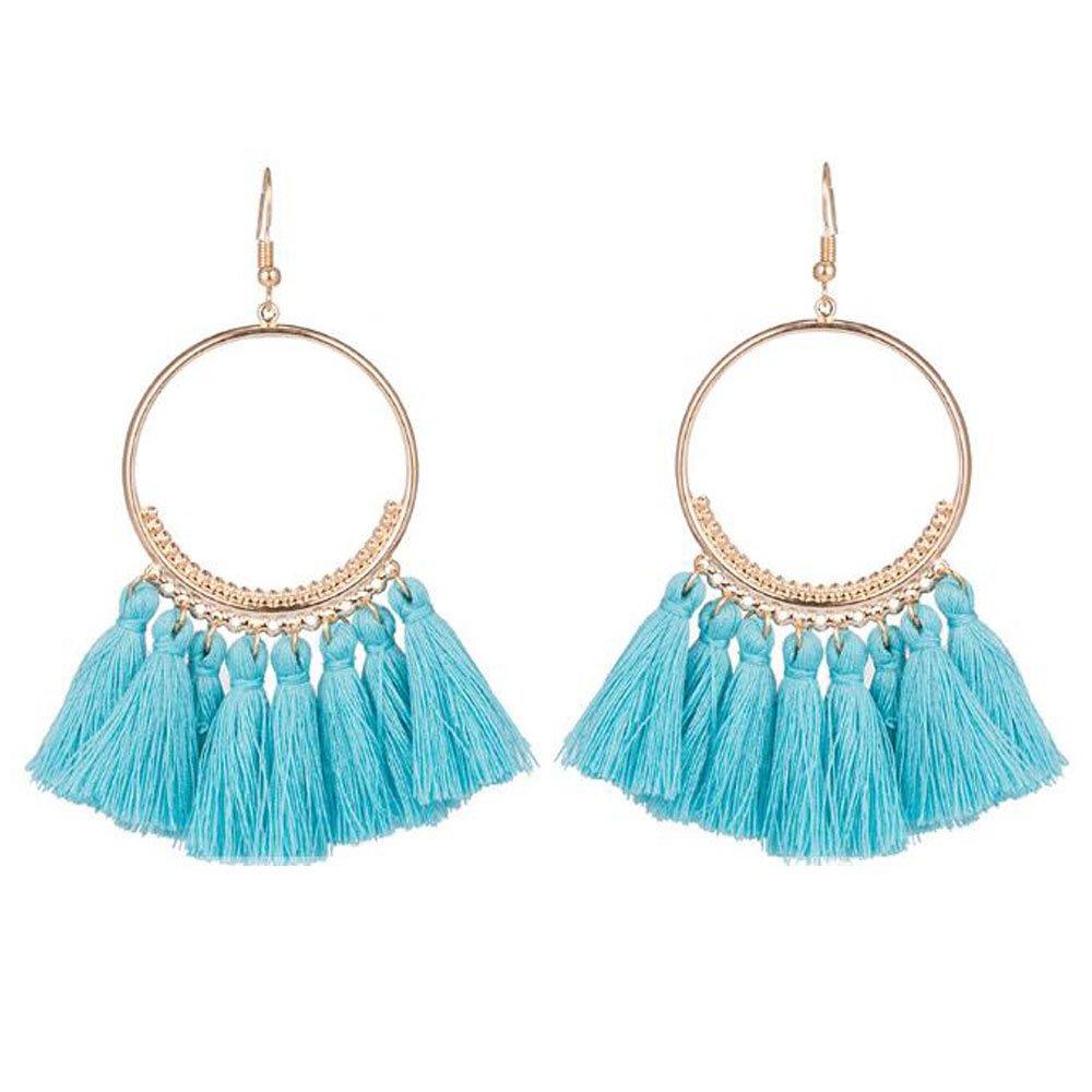 Multicolored Short Tassel Earrings for Women Thread Fringe Earrings for Girls