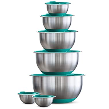 Tramontina 14-Piece Covered Stainless-Steel Mixing Bowl Set - Aqua