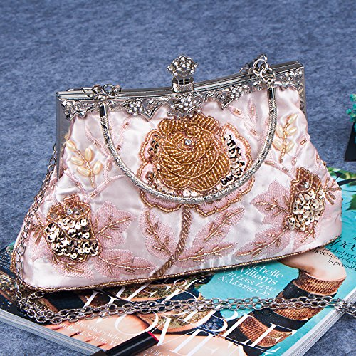 Purse Beaded Party Style Vintage And Handbag Roses Bag Women's Sequined Bagood Clutch Pink Evening Wedding FAZfOI