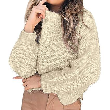 Luckycat Manga Larga para Mujer del Dobladillo de la Onda del Dobladillo del o-Cuello Tops Que Hace Punto Blusa Corta del suéter: Amazon.es: Ropa y ...
