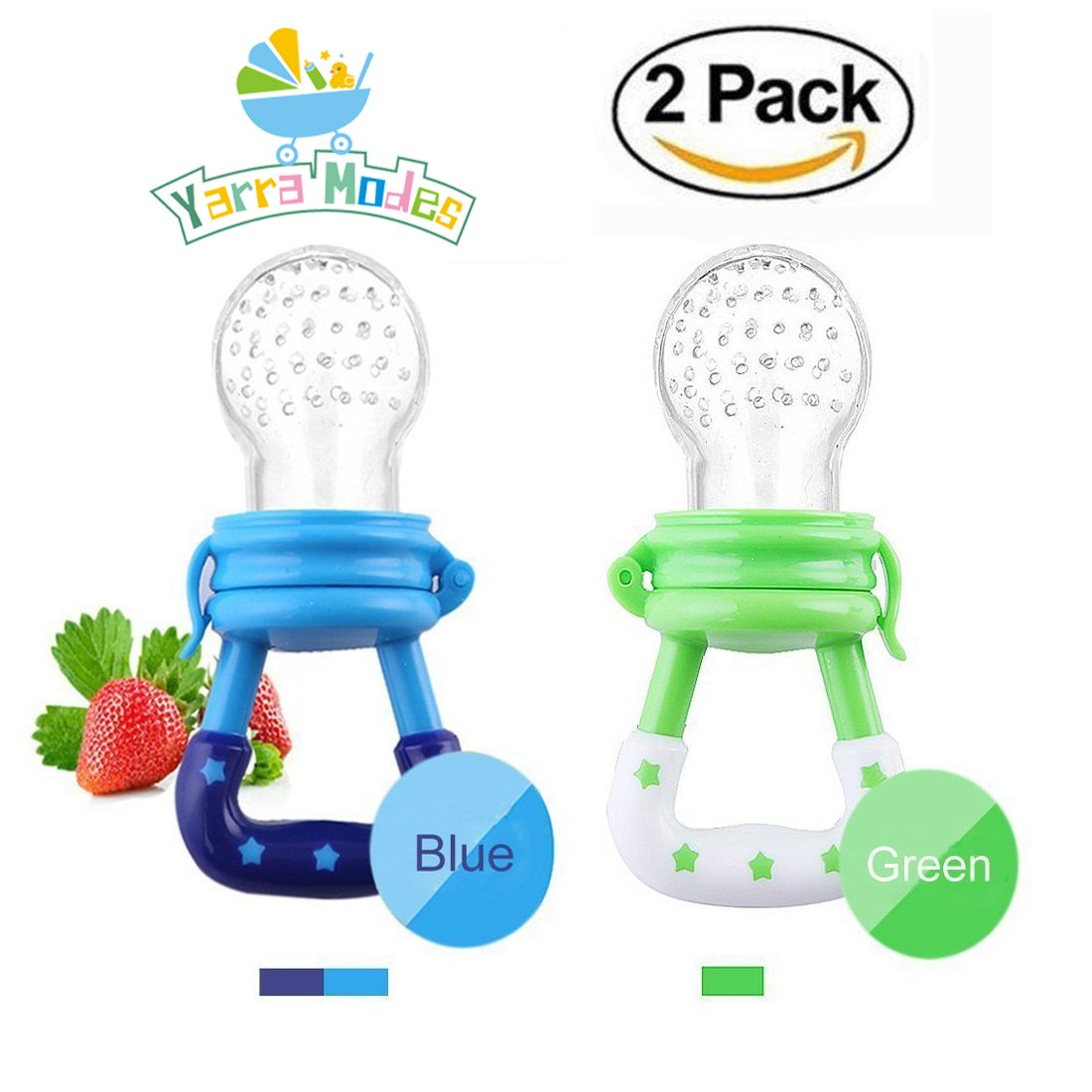 Baby Fruit Feeder Pacifier Baby Food Feeder Silicone Mesh Baby Feeder 2 PCS with Handgrip for Boys and Girls 2 PCS (6-12 months, Blue,Green)