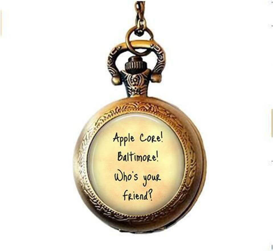 Friend Jewelry - Apple Core! Baltimore - Gift for Friend - Friend Pendant - Friendship Pocket Watch Necklace - Funny Friend Gift