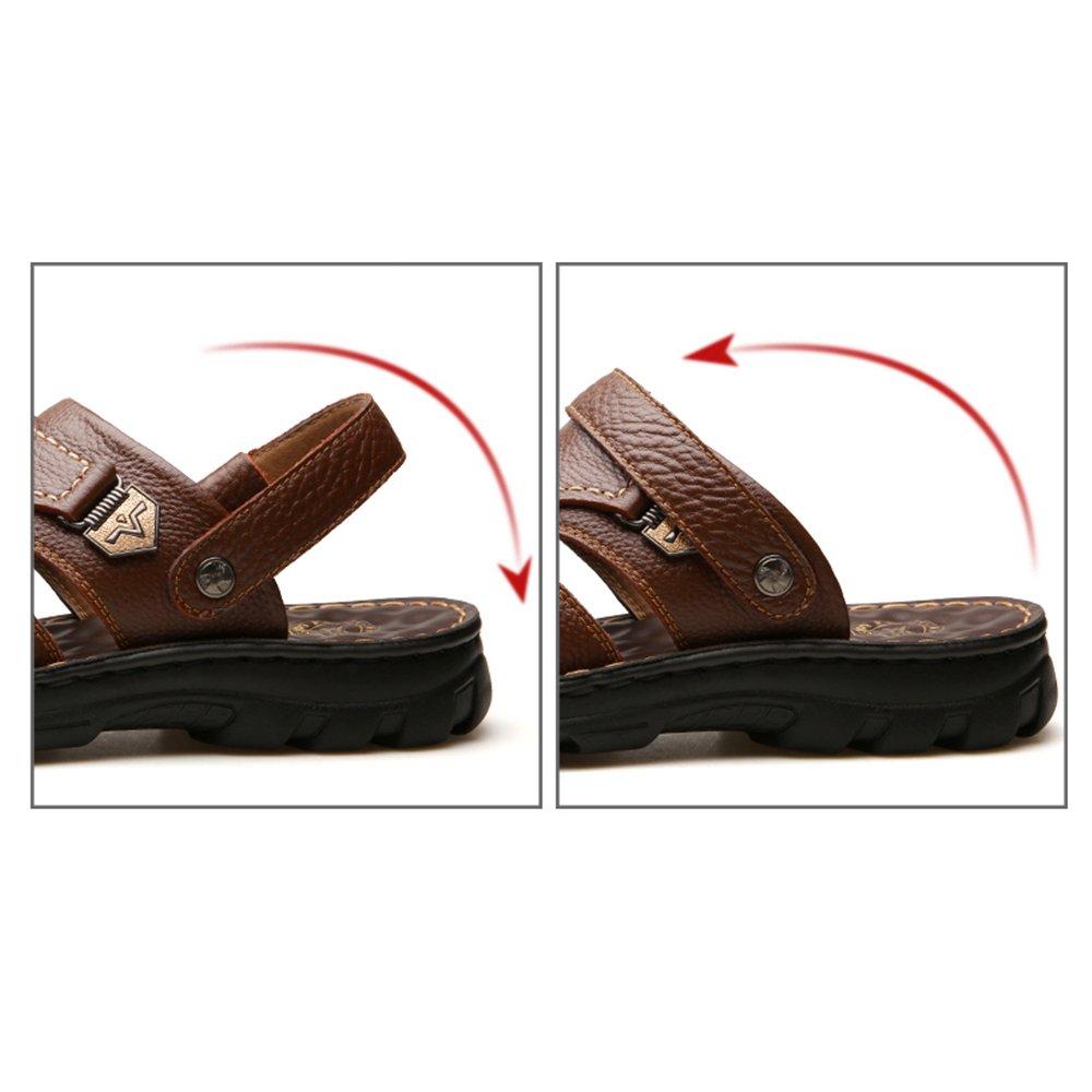 YQQ Hausschuhe Für Herren Lässige Schuhe Männliche Sandalen Weicher Strandschuhe Massage-Einlegesohle Sommer- Leder Weicher Sandalen Boden Rutschfest Gemütlich (Farbe : Braun, größe : EU39/UK6) Braun 917523