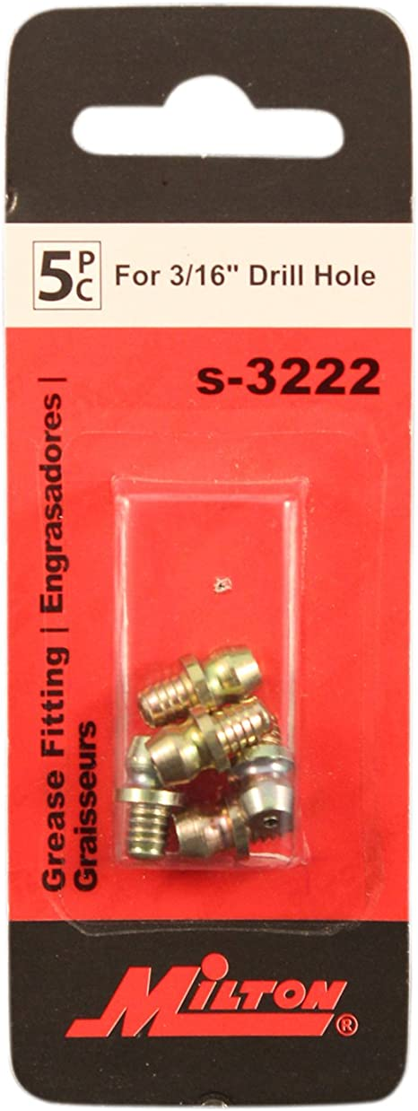 3//16 DRIVE TYPE FITTING STRAIGHT 37//64 GREASE FITTING ZINC /& DICHROMATE PACK OF 100