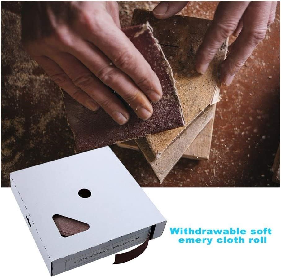 ARTFFEL Toolbox 50m/box Sandpaper Polishing Abrasive Belt Metal Glass Woodworking Sanding Paper Metal Polishing Dry and Wet Durable Tool Household (Color : 150Grit) 320grit