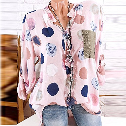 cuello Manga larga Blusa Imprimir camiseta con en M Aimee7 V Mujer POxXnTqwPA