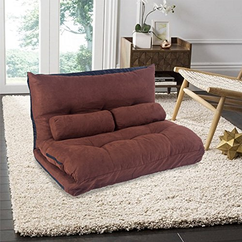 Merax Luxurious Adjustable Folding Leisure Sofa Bed Video Gaming Sofa with Two Pillows (brown) by Merax