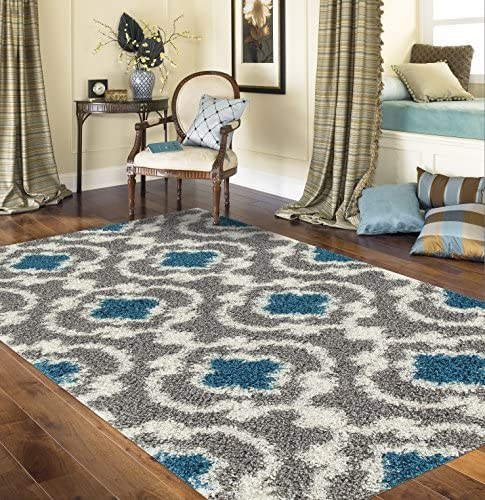 "Cozy Moroccan Trellis Gray/Turquoise 7'10"" X 10' Indoor Shag Area Rug"