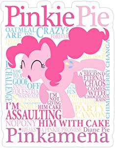 Stickers The Many Words of Pinkie Pie (3 Pcs/Pack) Wall Decals 3x4 Inch