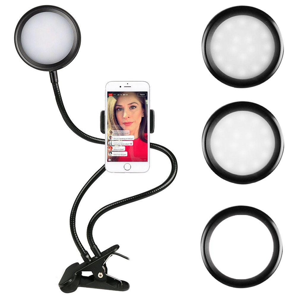 Dimmable Selfie Ring Light with Cell Phone Holder for Live Stream,Video Chat, Oenbopo 360 Long Arm Clip-On Table Holder LED Fill-In Light for iPhone X 8 7 6S 6 Plus, Samsung S8, HTC, LG