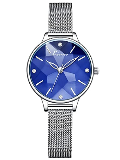 Alienwork Reloj Mujer Relojes Acero Inoxidable Plata Analógicos Cuarzo Azul Impermeable Clásico Elegante
