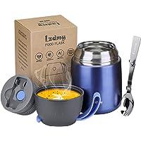 LZDMY Termos na gorącą żywność, izolowane pojemniki na żywność ze składaną łyżką, piersiówka na zupę dla dzieci, pudełko…