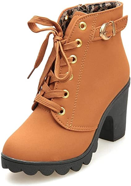b988a2d3e58 Women Ankle Martin Boots Lace Up Platform Chunky High Heels Zipper Autumn  Booties with Buckle Straps Yellow 7.5 B (M) US