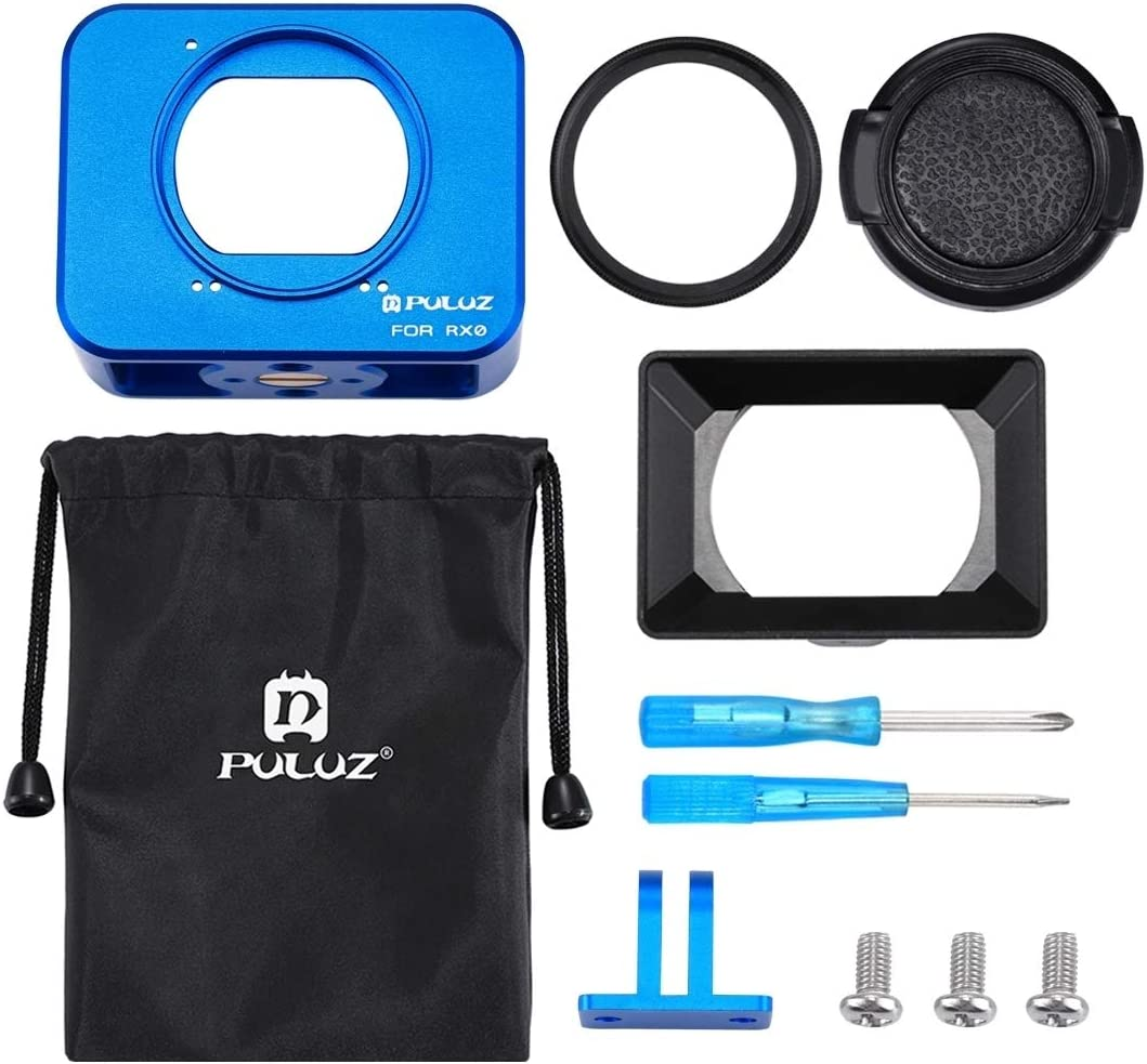 Lens Sunshade with Screws and Screwdrivers Allcecase fit for for Sony RX0 Aluminum Alloy Protective Cage Black 37mm UV Filter Lens Color : Blue
