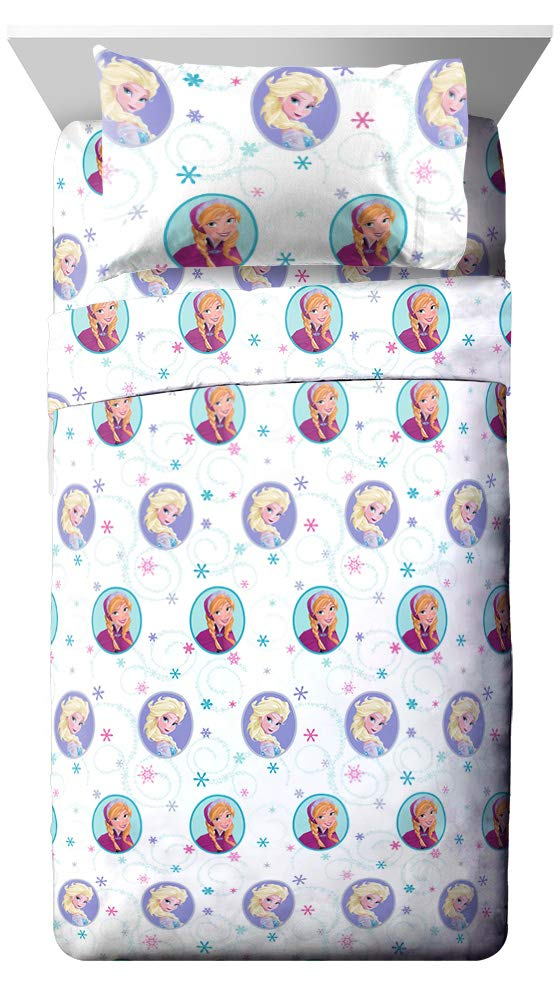 Jay Franco Disney Frozen Swirl Twin Sheet Set - Super Soft and Cozy Kid's Bedding Features Anna & Elsa - Fade Resistant Polyester Microfiber Sheets (Official Disney Product)