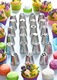 Russian Piping Tips - Cake Decorating Supplies - 39 Baking Supplies Set - 23 Icing Nozzles - 15 Pastry Disposable Bags & Coupler - Extra Large Decoration Kit - Best Kitchen Gift