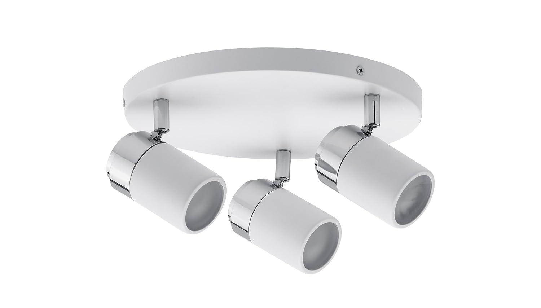 Paulmann 66712 Spotlight Zyli IP44 Rondell max 3x10W GU10 Weiß/Chrom 230V Metall 667.12 Deckenleuchte Lampe LED Deckenlampe Deckenstrahler