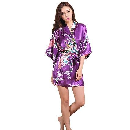 ALJL Bata de Dormir Seda Kimono de Raso de Mujer Bata de baño Corta Pijamas cómodos
