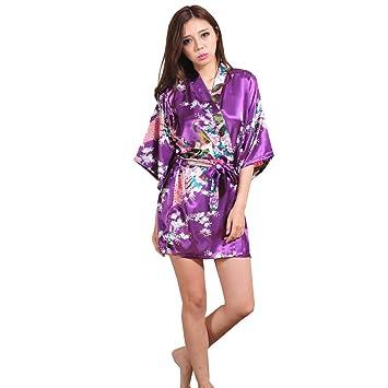 ALJL Bata de Dormir Seda Kimono de Raso de Mujer Bata de baño Corta Pijamas cómodos Albornoz Suelta Moda de la Camiseta Albornoz púrpura Profunda,Deep ...