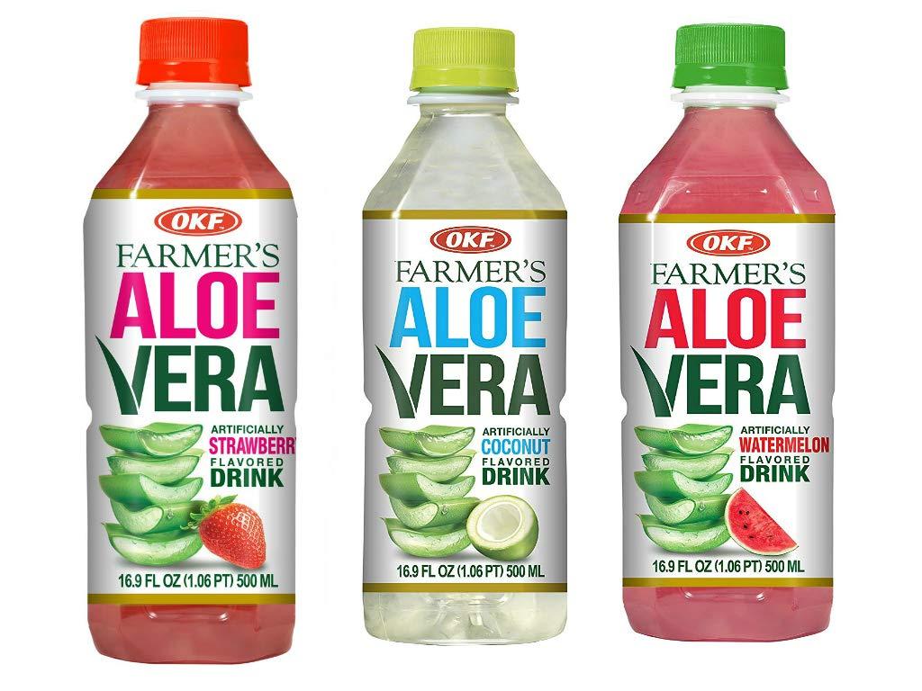 OKF Farmer's Aloe Vera Drink, Strawberry (16.9 Fl Oz, Strawberry, Watermelon, Coco)