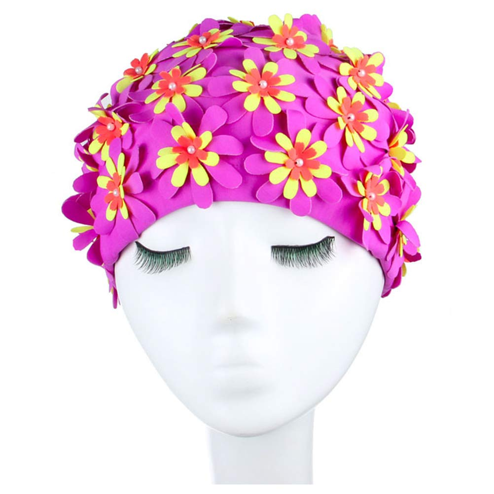 LIOOBO Women Adult Swimming Cap Floral Pearl 3D Flower Design Swimming Hat Ear Protection Free Size Women Bathing Cap (Purple)