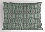 Lunarable Arabian Pillow Sham, Old Design Traditions with Geometric Details Traditional Star Ceramic Art Mosaic, Decorative Standard King Size Printed Pillowcase, 36 X 20 inches, Multicolor