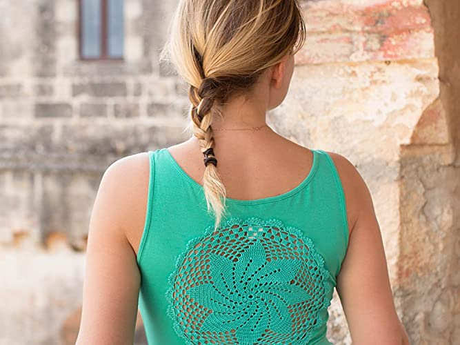 a1fcf910205c3 Amazon.com  Mint green Tank Top with upcycled vintage crochet doily ...