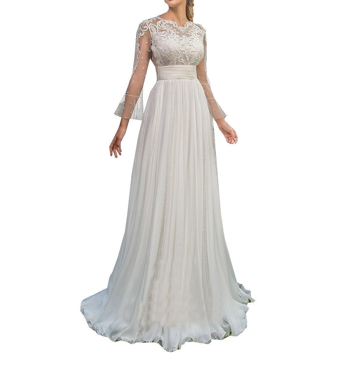 5242f779f7311 Chiffon Lace Beach Wedding Dress 2018 Simple Long Sleeves Hollow ...