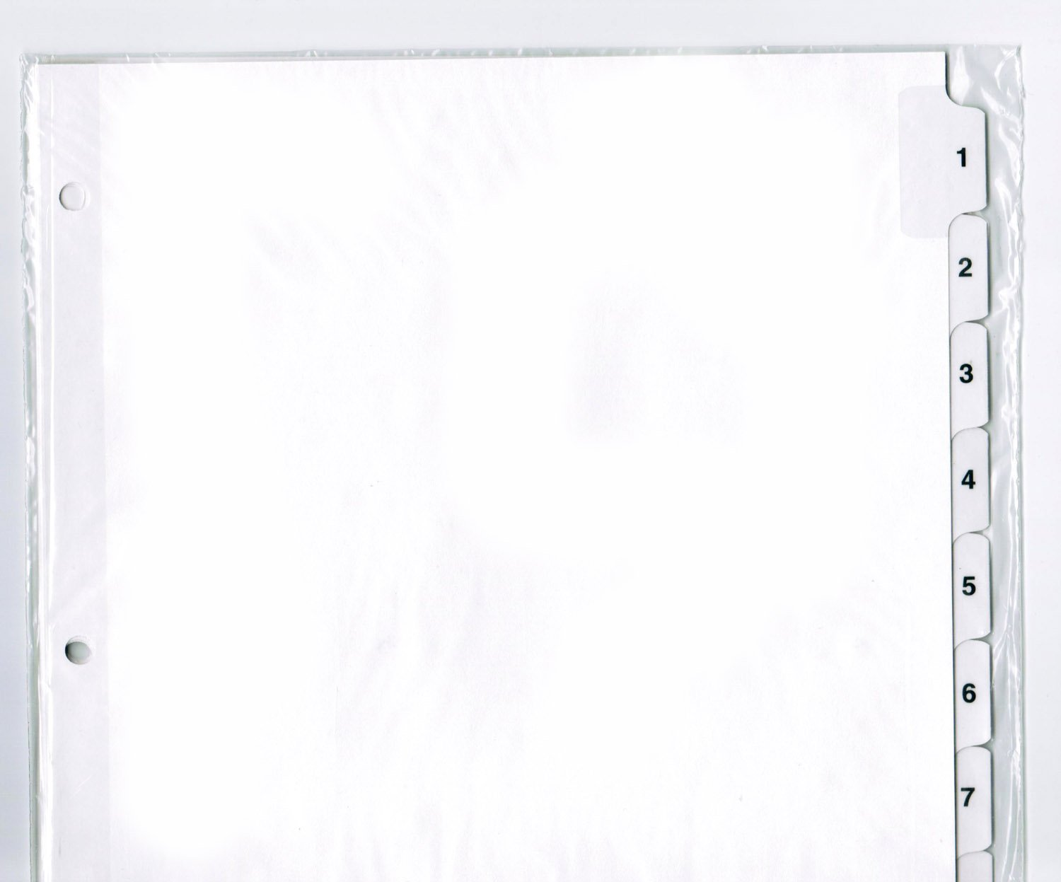 3 Ring Pre-Printed Index Sheets, Numbered 1-10 on White Mylar Reinforced Tabs, 11'' x 8-1/2'', Full Set