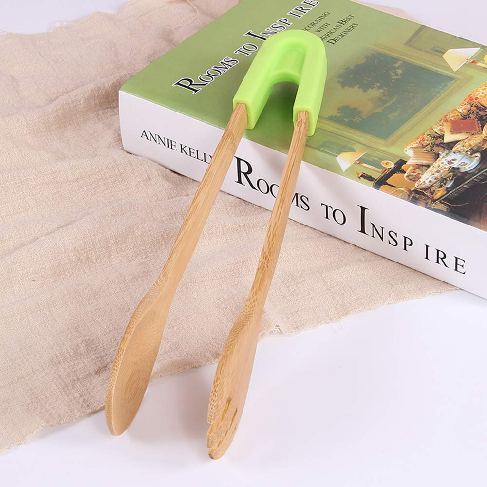 Detachable Silicone Handle Kitchen Tongs 2 Piece Set Bamboo Cooking Tongs 12 Inch Bamboo