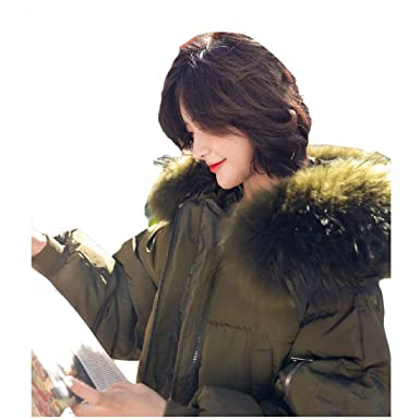 44cd6071a45 Tootless-Women Plus-Size Faux Fur Hooded Mid Long Puffer Coats Army Green XS