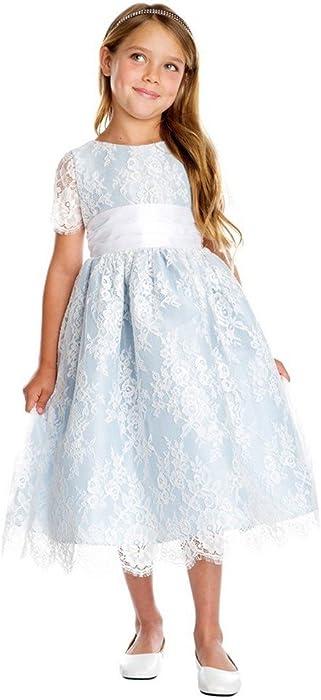 73f6c8afa7d Amazon.com  Sweet Kids Little Girls Blue French Lace Dupioni Flower ...