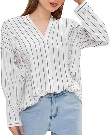 MEIbax Banda de Moda Camisa de Manga Larga para Mujer Camisa de Mujer Profesional Verano Camiseta Casual y cómoda con Cuello en v para Mujer Jersey Ropa de Mujer Blusa: Amazon.es: Ropa