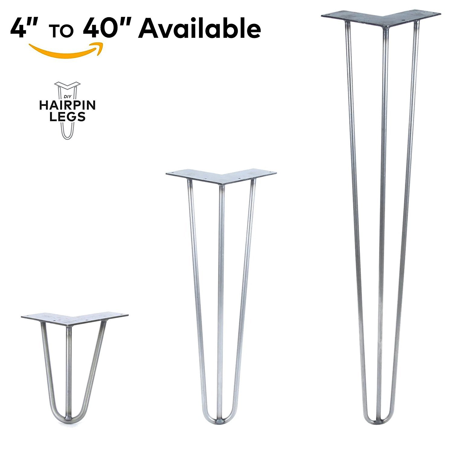 "4'' - 40'' Hairpin Legs - 3Rod Design - Raw Steel - 1/2'' Diameter - MADE in the USA (4"" Height x 1/2'' Diameter - Each Leg Sold Separately)"